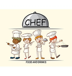 Many chefs cooking food vector