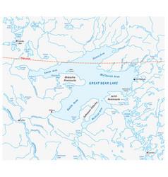 Map great bear lake canada vector