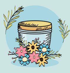 Mason jar glass with flowers drawing vector