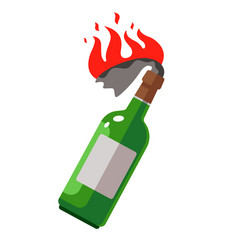 Molotov cocktail with a burning rag weapons vector