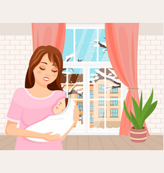 mom holding in her arms a small bais standing vector image
