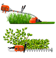 Mowing lawns and bushes vector