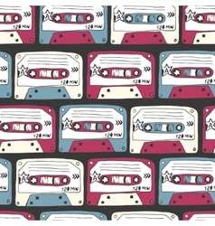 Music symbols Seamless pattern of ratro cassettes vector