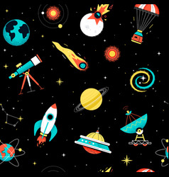 outer space - colorful flat design style pattern vector image