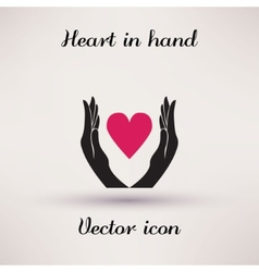 Pictograph of heart in hands icon Template for vector image