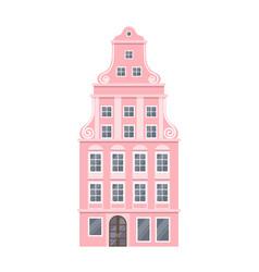pink european style classic building facade vector image