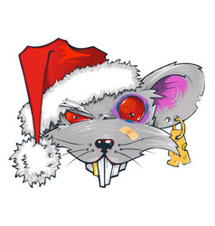 rat in santas hat symbol 2020 vector image