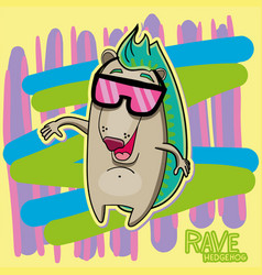 Rave hedgehog funny character vector
