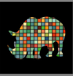 rhinoceros mammal color silhouette animal vector image