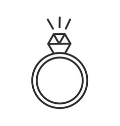 ring with diamond line icon sign vector image