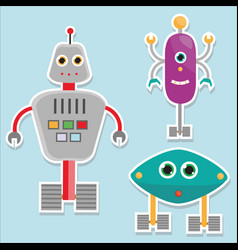 Robots stickers isolated vector