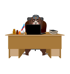 Russian hacker bear and laptop ip technology in vector