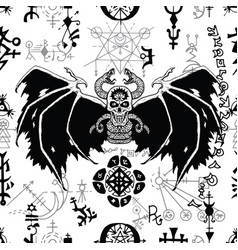 seamless pattern with black winged demon 1 vector image
