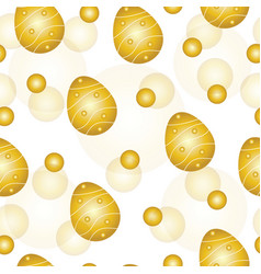 seamless pattern with gold easter eggs vector image