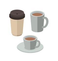 set coffee drinks isometrics icons vector image