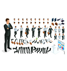 set for create your character in isometric vector image