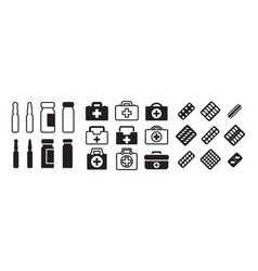 Set medical icons with pills ampoules and vector