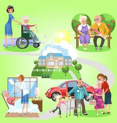 set of old women and men spending time in nursing vector image