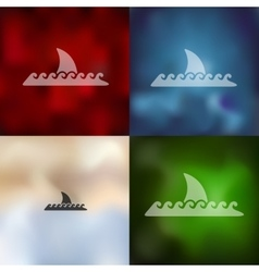 shark icon on blurred background vector image