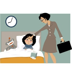 Sick kid and her mom vector image