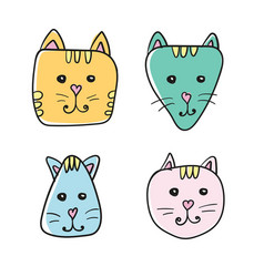 simple hand drawn cartoon cat face icon four vector image