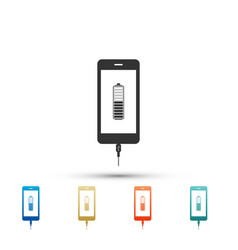 Smartphone battery charge icon on white background vector