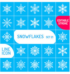 snowflake icons set outline icon thin vector image