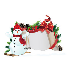 snowman with red hat and scarf vector image
