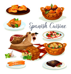 spanish cuisine dinner menu poster design vector image