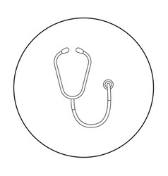Stethoscope icon in outline style isolated on vector