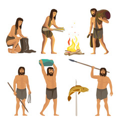 stone age people isolated on white background vector image