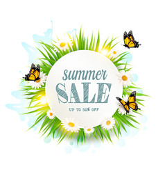 Summer sale background with grass daisies and vector