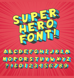 Super hero comics font comic graphic typography vector