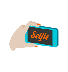 Taking selfie photo on smartphone symbol flat vector