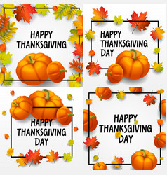thanksgiving day banner set isometric style vector image