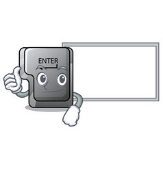 thumbs up with board button enter in shape vector image