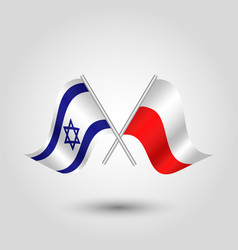 Two crossed israeli and polish flags vector