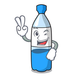 two finger water bottle character cartoon vector image