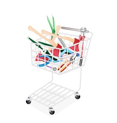 Various Craft Tools in A Shopping Cart vector