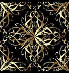 vintage gold 3d damask seamless pattern vector image