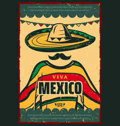 viva mexico retro poster for cinco de mayo holiday vector image
