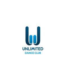 w letter dance club icon template vector image
