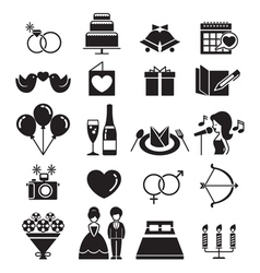 Wedding Icons Set Monochrome vector