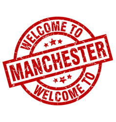 Welcome to manchester red stamp vector