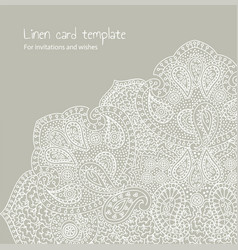 White linen brocade card template vector