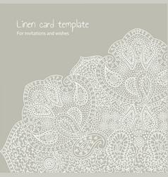 White linen brocade card template vector