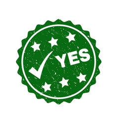 yes grunge stamp with tick vector image