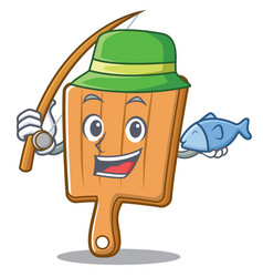 fishing kitchen board character cartoon vector image