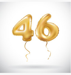 golden number 46 forty six metallic balloon party vector image