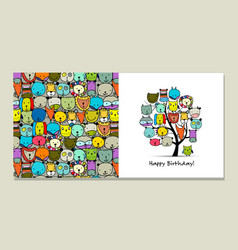 greeting card design funny animals tree vector image